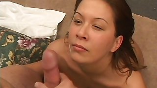 After hardcore sex hot brunette is on her knees waiting for a facial