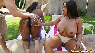 Layton Benton and one more oiled ebony share friend's penis in the garden