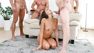 Small tits Cassie Del Isla brutally gangbanged together with sprayed with jizz