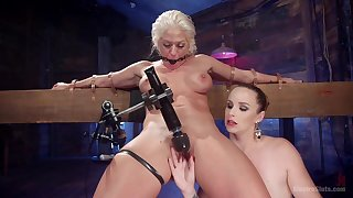 Lesbian hard fuck with machines is a fantasy of hot Bella Rossi
