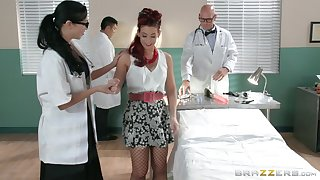 Redhead slut Ryder Skye in fishnet stockings rides her debase