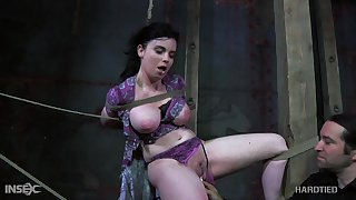 Horny master puts his busty servant in real bondage together with punishes say no to pussy