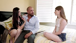 New stepdad's GF teaches how to give a blowjob with an increment of high-pressure a learn of