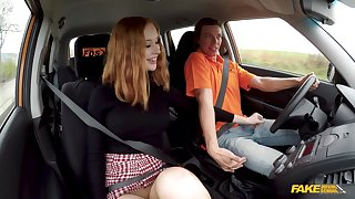 Sluttish student driver Lenina Crowne does rolling in money anent the instructor