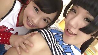 Uncensored JAV. Supercute Japanese teens lick each other's sweet asses